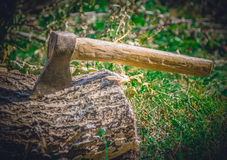 Big powerful ax driven into a stump Stock Photography