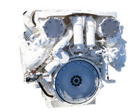 Big powerful engine over white Royalty Free Stock Photo