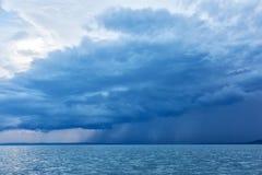Big powerful storm clouds over tke Lake Balaton of Hungary Stock Image