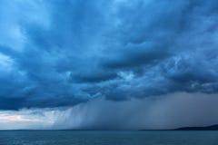 Big powerful storm clouds over tke Lake Balaton of Hungary Royalty Free Stock Photography