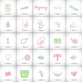 Big pregnancy icons set. Hand-drawn cartoon baby birth elements - baby, tools, female body, placenta, the egg and sperm Royalty Free Stock Photography
