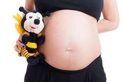 Big pregnant woman belly and cute plush bee toy Stock Photo