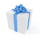 Big present with blue ribbon Stock Image