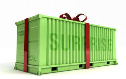 Big Present on a cargo container Royalty Free Stock Photos