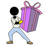 Big present for you. Silhouette-man healthcare icon - big present for you Stock Photos