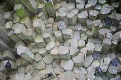 Big prism wall - basalt columns in the Rhön, Bavaria, Germany. In detail stock photos