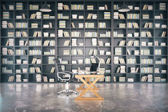Big private library with glassy table and concrete floor, 3D Ren Stock Image