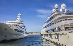 Big private yachts Stock Image