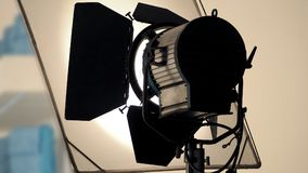 Big production spot light equipment in studio. For video or film movie shooting and low angle view Royalty Free Stock Images