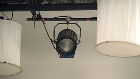 Big production spot light equipment in studio. For video or film movie shooting and low angle view Stock Photography