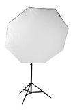 A big professional octobox, isolated on a white background. Studio equipment and lighting. The octobox with a flashlight. Stock Photos