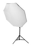 A big professional octobox, isolated on a white background. Studio equipment and lighting. The octobox with a flashlight. Royalty Free Stock Image