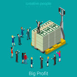 Big profit snatch business success money flat vector isometric Royalty Free Stock Images