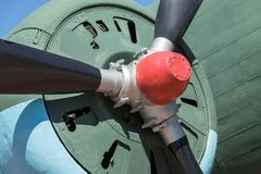 Big propeller motor of the old plane closeup Stock Photography