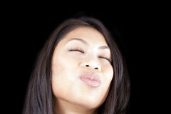 Big pucker portrait young woman eyes closed Royalty Free Stock Photo