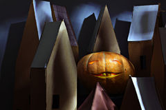 Big pumpkin for Halloween in the toy town Stock Image