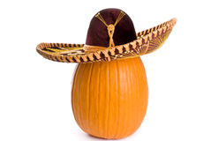 Big Pumpkin Wearing a Sombrero Royalty Free Stock Image