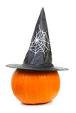 Big pumpkin with witch hat Royalty Free Stock Photos