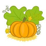 Big pumpkins on hay Stock Image