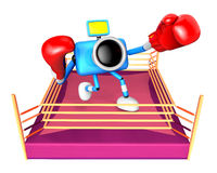 A big punch in the ring blowing blue camera Character. Create 3D Royalty Free Stock Image