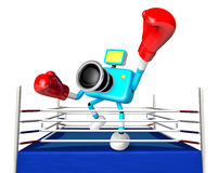 A big punch in the ring blowing 3d cyan camera Character.  Stock Image