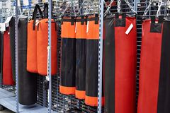 Punching bag in sport store. Big punching bag in sport store Stock Images