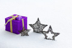 The big purple Christmas present Royalty Free Stock Photography