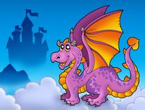 Big Purple Dragon Near Castle Stock Image