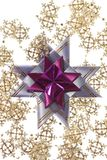 Big purple star on the silver garland Stock Image
