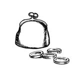 Big purse with coins, sketch icon Stock Photo
