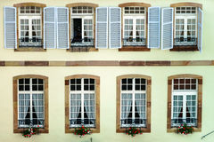 Big pvc window with decoration elements in old french house Stock Image