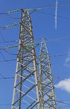 Big pylon of the high voltage electric cables in power station Stock Photo