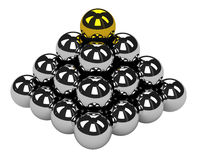 The big pyramid. Of shiny metal balls Royalty Free Stock Image