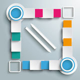 Big Quadrat Two Arrows Four Colored Batch Rectangl. Infographic design on the grey background. Eps 10  file Royalty Free Stock Photography
