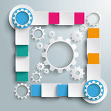 Big Quadrat White Gears Four Colored Batch Rectang. Infographic design white circles on the grey background. Eps 10  file Royalty Free Stock Photos