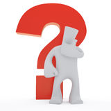 Big question. 3d character with big question mark Stock Photography