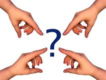 Big question. Hands pointing at question mark stock illustration