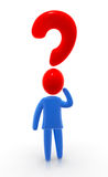 Big question. Figure with question mark instead of head. Concept of demanding help, answers and assistance Stock Images
