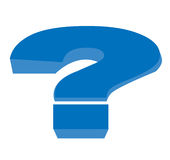 Big Question. Big blue illustrated question mark Royalty Free Stock Photography