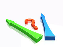 Big question and arrows Stock Photo