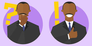 Big question and best solution concept signs. Flat cartoon style. Thinking, doubtful black man. Satisfied, sure businessman. stock illustration