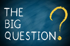 THE BIG QUESTION with a big question mark. On chalkboard Stock Images