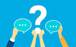 Big question concept vector illustration of texting to live chat, asking for help. Via internet. Flat human hands hold question symbol and speech bubbles as Stock Photos