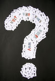 Big question mark with words. Big question mark with questions why, where, when, what and who royalty free stock image