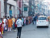 Huge Queue of Hindu Devotees at Laxmi Temple Indore-India. Big Queue of Hindu Devotees at Laxmi Temple Indore at Rajbada Palace on Early Diwali Morning. Its a royalty free stock photos