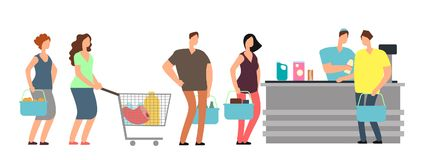 Big queue shopping people at cash desk with cashier in supermarket cartoon vector illustration royalty free illustration
