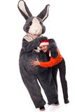 Big rabbit with boy Royalty Free Stock Photos