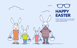 Big Rabbit Family Bunny Holding Basket Happy Easter Holiday Greeting Card Thin Line Stock Images