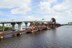 Jacksonville downtown railroad bridge Royalty Free Stock Photos