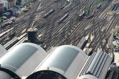 Big railway station and trains Royalty Free Stock Photos